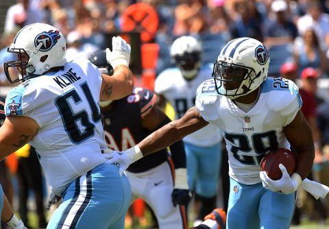 Tennessee Titans running back DeMarco Murray (29) carries the ball as offensive guard Josh Kline (64) blocks during the first half against the Chicago Bears at Nissan Stadium. (Jim Brown-USA TODAY Sports)