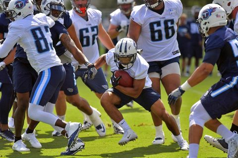 Tennessee Titans running back Khalfanib Muhammad (28) rushes during training camp at Saint Thomas Sports Park. (Jim Brown-USA TODAY Sports)