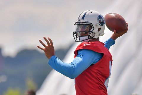Tennessee Titans quarterback Marcus Mariota (8) throws a pass during training camp at Saint Thomas Sports Park. (Jim Brown-USA TODAY Sports)