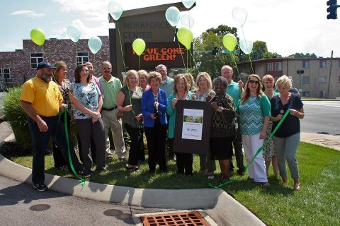 Clarksville-Montgomery County Green Ribbon Ceremony for Workforce Essentials. Daryl Pater, Rose Melton, Carlye Sommers, David Graham, Charlie Koon, Kim Robertson, Robin Dunn, Kim McMillan, Tim Swaw, Kim Rye, Marty Wall, Andrea Dillard, Shirley Cohen, John Watz, Marla Rye, Barbara Unruh, and Melinda Shepard.