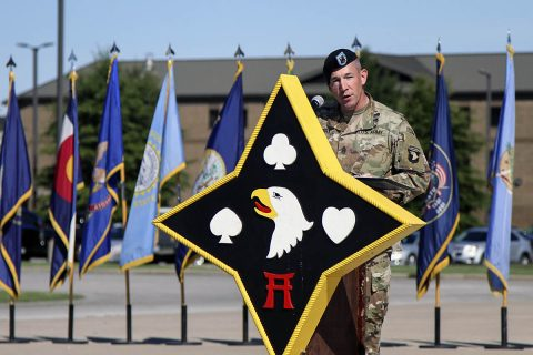 Command Sgt. Maj. Michael J. Perry III, outgoing command sergeant major for the 101st Airborne Division (Air Assault) Sustainment Brigade, 101st Abn. Div., speaks about his time in the bridge, Sept. 7, 2017, during a change of responsibility ceremony on Fort Campbell, Kentucky. (Sgt. Neysa Canfield/101st SBDE Public Affairs)