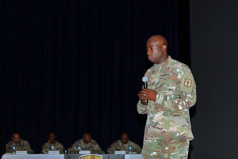 Command Sgt. Maj. Nathaniel J. Bartee, Sr., the senior enlisted adviser for the Combined Arms Support Command, speaks to a group of sustainment leaders from Fort Campbell, Ky., August 28, 2017. (Pfc. Alexes Anderson/ 101st Airborne Division (Air Assault) Sustainment Brigade Public Affairs Office)