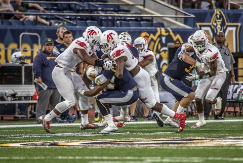 Austin Peay Football's defense holds Murray State racers to just 88 yards total offensive. (APSU Sports Information)
