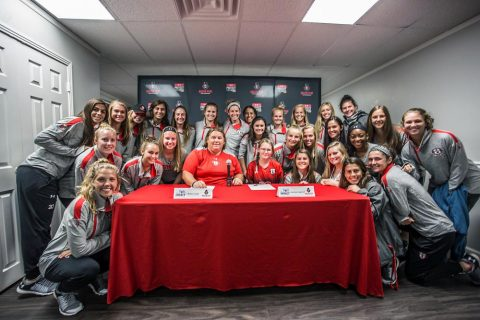 Austin Peay Women's Soccer signs 13-year old Jocelyn Cantrell at a press conference, Wednesday. (APSU Sports Information)