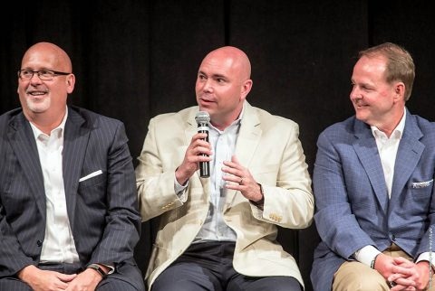 Austin Peay Men's Basketball head coach Matt Figger took part in supporting the American Cancer Society at Coaches vs. Cancer Tennessee Tip-Off event. (APSU Sports Information)