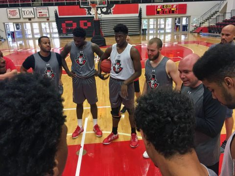 Matt Figger held his first practice session Friday as the new Austin Peay Men's Basketball head coach. (APSU Sports Information)
