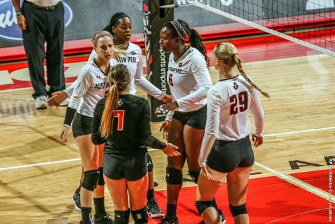 Austin Peay Women's Volleyball gets four set victory over South Florida Friday for third straight win. (APSU Sports Information)