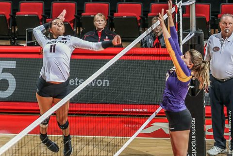 Austin Peay Volleyball's Christina White has 17 kills in win over SIU Edwardsville at the Dunn Center Friday night. (APSU Sports Information)
