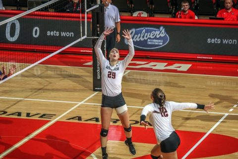 APSU Volleyball gets commanding three set victory over Western Illinois Saturday to win Blazer Invitational Saturday. (APSU Sports Information)