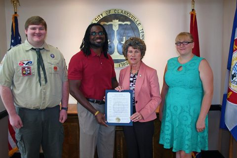 Clarksville Mayor Kim McMillan proclaimed September as Suicide Prevention Awareness Month in Clarksville. She presented the proclamation Thursday to members of the local Suicide Prevention Task Force: (from left) David Keesler, Joseph Chatman III, task force chairman; and Desiree McBride.