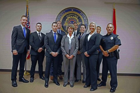 (L to R) Benjamin Cooper Goble, Michael Bradlee Taylor Christian William Canales, Robert Clay Dill, Steven Charles Cash, Victoria Ann Medina, Tess Elise Halford, Ian Pheng Yang. (Jim Knoll, CPD)