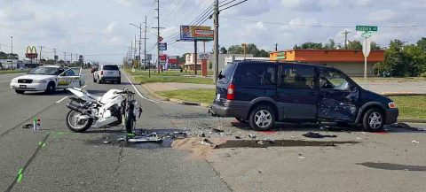 A Blue Pontiac Montana turned in front of a Suzuki motorcycle at the intersection of Fort Campbell Boulevard and Ashbury Road, Sunday.