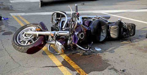 A Yamaha VTC motorcycle failed to stop at the red light at Beech Street and Providence Boulevard and crashed into a Ford Mustang, Sunday. (Jim Knoll, CPD)
