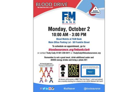 F&M Bank Blood Drive to be held October 2nd