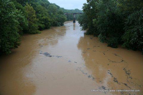 Red River going over it banks in Clarksville Tennessee.