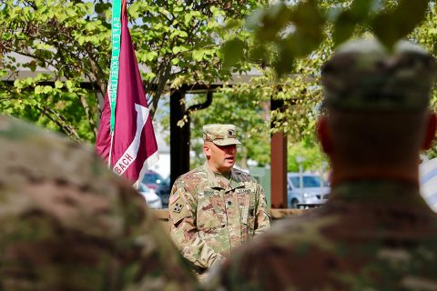 Fort Campbell's Warrior Transition Battalion Commander, Lt. Col. Shawn Butler gives formal remarks at the battalion's Eagle Warrior Memorial Garden Rededication Ceremony Sept. 14. WTB Soldiers worked to restore the garden so Soldiers and families would have a place to find peace and healing as well as to honor the WTB's fallen Soldiers. (Maria Yager)