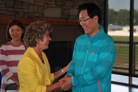 Clarksville Mayor Kim McMillan shares a farewell handshake with Gunpo Mayor Kim Yoon Joo at a Farewell Ceremony for the Gunpo Delegation September 8th at Freedom Point.