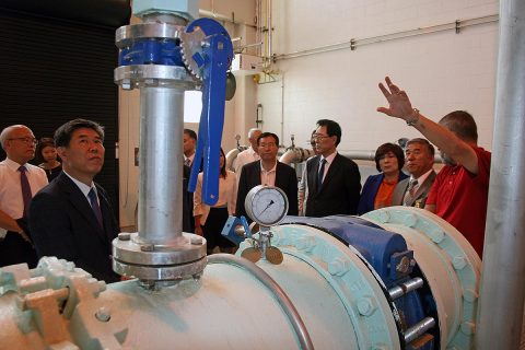 The Gunpo delegation views equipment at the Clarksville Water Plant.