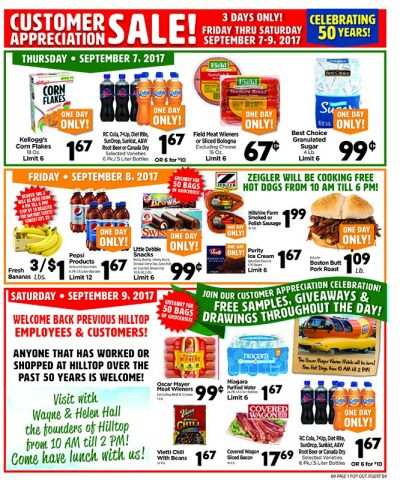 Hilltop Customer Appreciation Sale