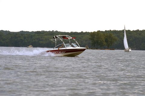 Boats move about J. Percy Priest Lake in Nashville, Tenn., July 19, 2017. The public is encouraged to make water safety priority over the Labor Day weekend. (Leon Roberts)