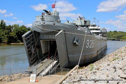 USS LST-325 docked at the McGregor Park boat ramp.