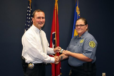 (L to R) Montgomery County Sheriff John Fuson and Sergeant Thomasa Munroe.