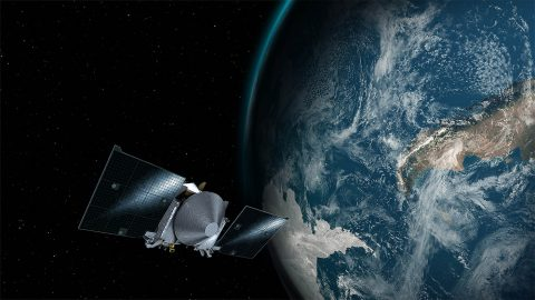 This artist's concept shows the OSIRIS-REx spacecraft passing by Earth. (NASA's Goddard Space Flight Center/University of Arizona)