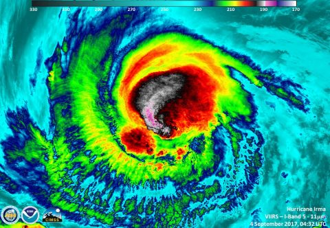 The VIIRS instrument on the Suomi NPP satellite flew over Category 3 Hurricane Irma at approximately on Sept. 4 at 04:32 UTC (12:32 a.m. EDT). Cloud top temperatures were near -117.7F/-83.5C in the western quadrant. (UWM/SSEC/CIMSS, William Straka III)