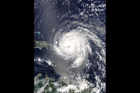 On Sept. 6 at 1:45 p.m. EDT (1745 UTC) the Moderate Resolution Imaging Spectroradiometer or MODIS instrument aboard NASA's Aqua satellite captured a visible-light image of Hurricane Irma over the Leeward Islands and Puerto Rico. (NASA Goddard MODIS Rapid Response Team)