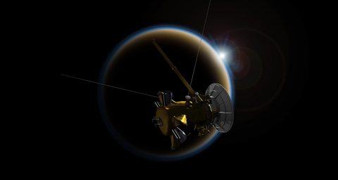 Cassini made its final, distant flyby of Saturn's moon Titan on Sept. 11, which set the spacecraft on its final dive toward the planet. (NASA/JPL-Caltech)