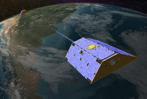Illustration of the Gravity Recovery and Climate Experiment (GRACE) twin satellites in orbit. (NASA-JPL/Caltech)