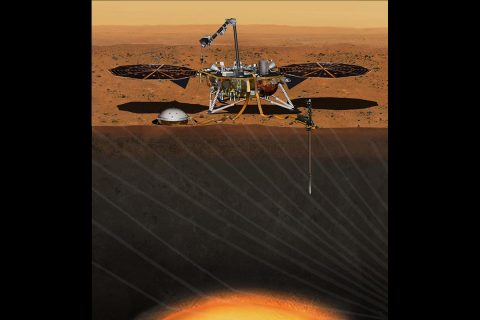 This artist's concept from August 2015 depicts NASA's InSight Mars lander fully deployed for studying the deep interior of Mars. (NASA/JPL-Caltech)