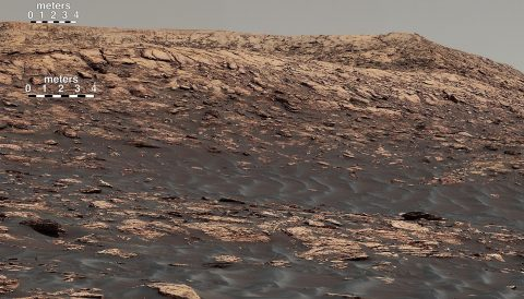 """Vera Rubin Ridge,"" a favored destination for NASA's Curiosity Mars rover even before the rover landed in 2012, rises near the rover nearly five years later in this panorama from Curiosity's Mastcam. (NASA/JPL-Caltech/MSSS)"