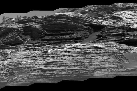 "This view of ""Vera Rubin Ridge"" from the ChemCam instrument on NASA's Curiosity Mars rover shows sedimentary layers, mineral veins and effects of wind erosion. (NASA/JPL-Caltech/CNES/CNRS/LANL/IRAP/IAS/LPGN)"