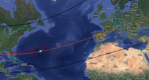 The borders of Triton's shadow across Earth's surface are indicated by black lines on this map, while the orange line is the path of the shadow's center. SOFIA's flight path is represented by the red line; the point of the crucial, two-minute observation of Triton as it aligns with the star is marked by the airplane. The red and blue dots represent the ground-based telescopes that will also observe Triton. (DSI/ Karsten Schindler (Map data, Google))