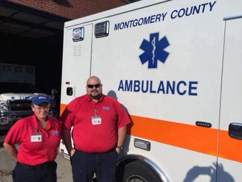 (L to R) Paramedic Rita Cain and Critical Care Paramedic Jeremy Clark and Paramedic Rita Cain are headed to Tallahassee, FL.