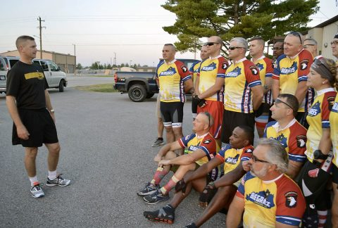 101st Airborne Division (Air Assault) Deputy Commanding General for Support, Brig. Gen. Kenneth Royar talks with members of Fort Campbell's Warrior Transition Battalion Sept. 28 before the group departs on the first day of the Bluegrass Rendezvous, a two-day 167-mile bike ride on and around Fort Campbell. (U.S. Army photo by Maria Yager)