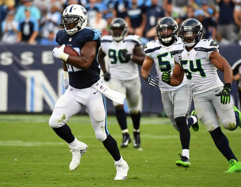 Tennessee Titans running back DeMarco Murray (29) runs for a 75-yard touchdown during the second half against the Seattle Seahawks at Nissan Stadium. (Christopher Hanewinckel-USA TODAY Sports)