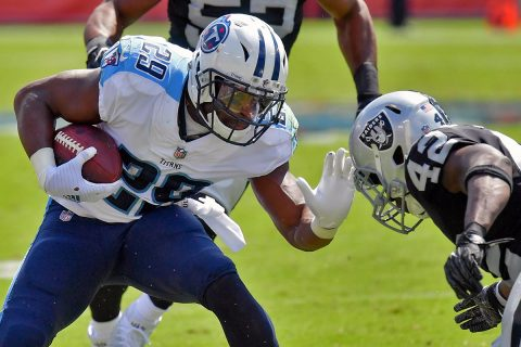 Tennessee Titans running back DeMarco Murray (29) rushes against Oakland Raiders strong safety Karl Joseph (42) during the second half at Nissan Stadium. (Jim Brown-USA TODAY Sports)