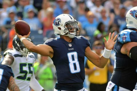 Tennessee Titans quarterback Marcus Mariota (8) throws a pass against the Seattle Seahawks during the first half at Nissan Stadium. (Jim Brown-USA TODAY Sports)