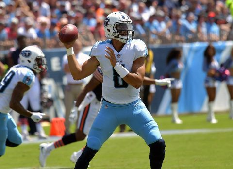 Tennessee Titans quarterback Marcus Mariota (8) throws a pass against the Chicago Bears during the first half at Nissan Stadium. (Jim Brown-USA TODAY Sports)