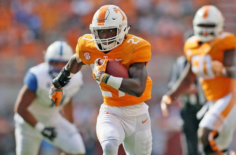 Tennessee Volunteers running back Carlin Fils-aime (27) carries the ball on his way to scoring a touchdown against the Indiana State Sycamores during the first half at Neyland Stadium. (Crystal LoGiudice-USA TODAY Sports)