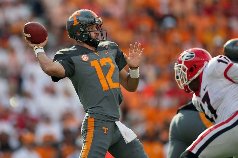 Tennessee Volunteers quarterback Quinten Dormady (12) looks to pass the ball against the Georgia Bulldogs during the first half at Neyland Stadium. (Crystal LoGiudice-USA TODAY Sports)