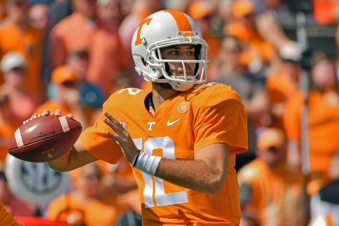 Tennessee Volunteers quarterback Quinten Dormady (12) passes the ball against the Massachusetts Minutemen during the first quarter at Neyland Stadium. (Randy Sartin-USA TODAY Sports)
