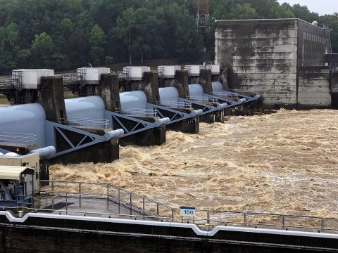 The U.S. Army Corps of Engineers Nashville District Water Management Center is passing water through Cheatham Dam on the Cumberland River in Ashland City, Tennessee at a rate exceeding 90,000 cubic feet per second. Cheatham Lock is closed because of the strong currents flowing through the dam. (Mark Rankin)