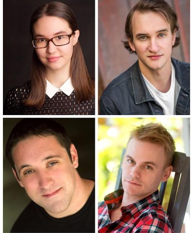"""(Clockwise from top left) Annabelle Szepietowski as Dorothy, Matthew Combs as Scarecrow, Stephen Shore as Tinman and Bryan Plummer as Lion star in the Roxy Regional Theatre's production of """"The Wizard of Oz"""""""