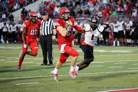 Austin Peay freshman quarterback Jeremiah Oatsvall rushes for a touchdown against Southeast Missouri Saturday, October 21st, 2017 at Fortera Stadium.