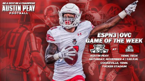 Austin Peay Football Game November 4th at Tennessee Tech to be broadcasted on ESPN3. (APSU Sports Information)