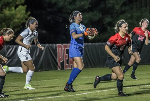 APSU Women's Soccer battles UT Martin Sunday to a draw at Morgan Brothers Soccer Field. (APSU Sports Information)
