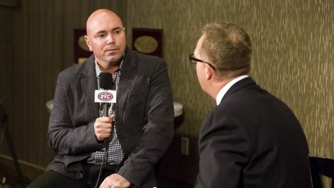Austin Peay State University head men's basketball coach Matt Figger at OVC Media Days. (APSU Sports Information)